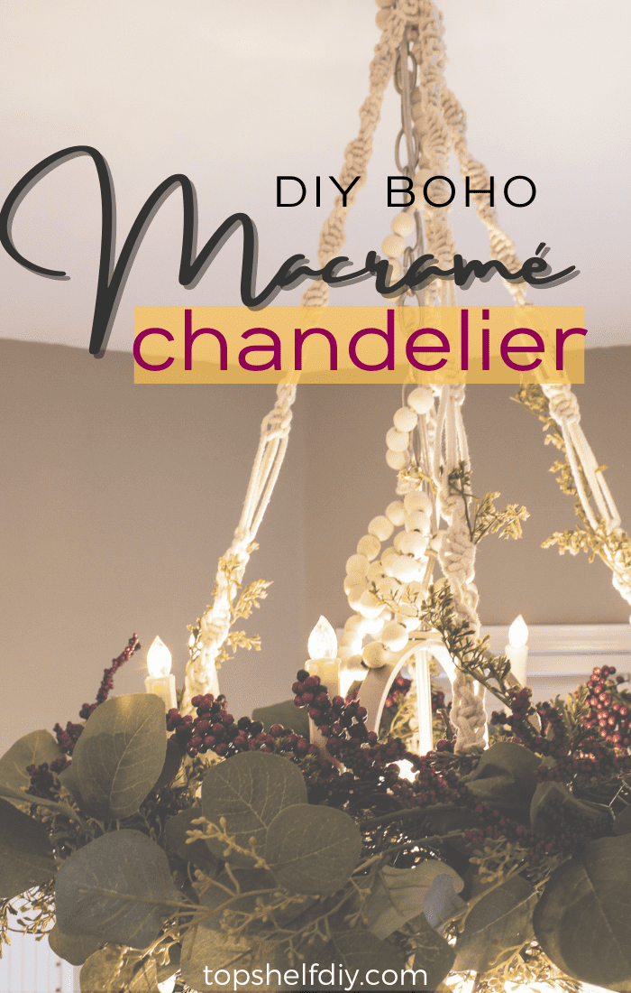 Get your macrame fix with this easy chandelier holiday project! Simple step by step process using spiral knots. All you need is some faux garland and chicken wire to complete the look. Pin this for your holiday decor project list! #diychandelier #diydecor #macramechandelier