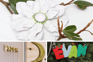 Three ways to incorporate polymer and air dry clay into your holiday home decor, including a magnolia votive holder tutorial. DIY Baby handprint ornament and kid's name ornament. #DIYChristmasDecorations #Christmasmantel #christmasdecor #magnoliaflowerdecor #magnoliacenterpiece #magnoliaflowerdecorideas
