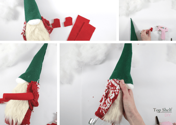 Making a sweater for your wine topper gnome. Learn how to make these adorable gnomes, which are great to give as gifts. Bring the Swiss Alps right to your kitchen with this felt project.