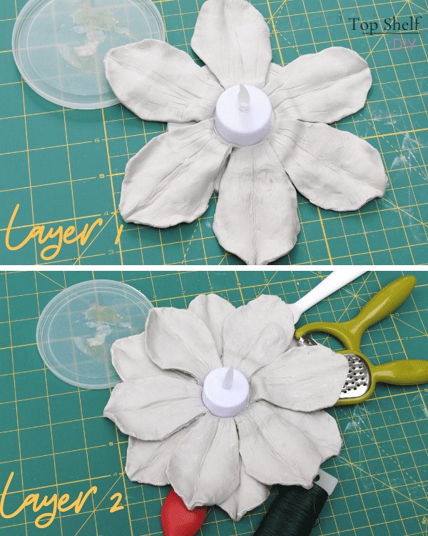 Clay magnolia candleholder made from air dry clay. Works well as mantel décor or as a holiday centerpiece. Super easy to make and also beautiful. Download your free petal template here! #DIYChristmasDecorations #Christmasmantel #christmasdecor #magnoliaflowerdecor #magnoliacenterpiece #magnoliaflowerdecorideas