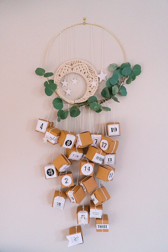 DIY Scandinavian Advent Calendar with a Macramé Crescent Moon. Work by April Reade from If Only April.com