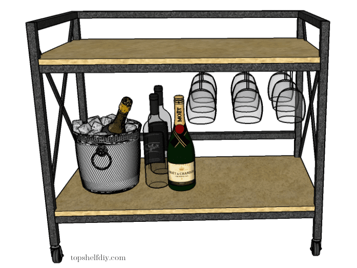 Final step: attach your walnut shelves. Get the free build plans for this DIY industrial metal bar cart made with a mix of wood and metal - no welding required! #barcart #diybarcart #aluminumtubing #mixedmaterials