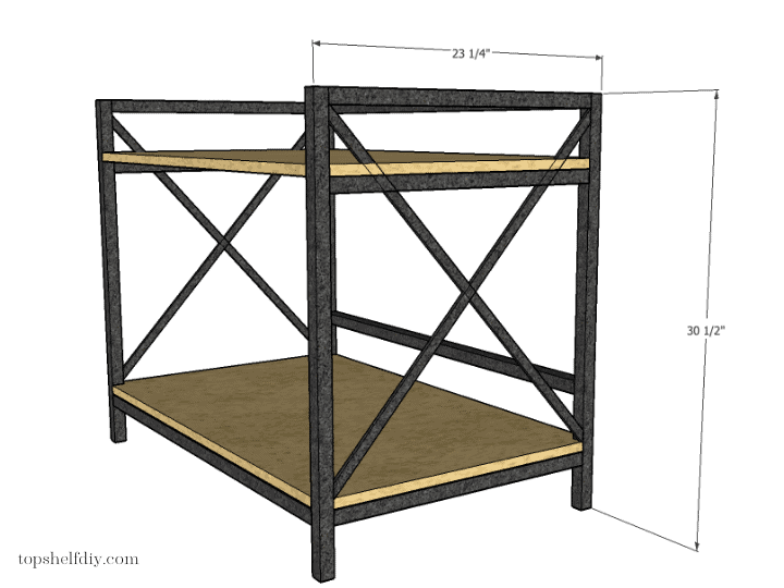 Step 4: attach your walnut shelves. Get the free build plans for this DIY industrial metal bar cart made with a mix of wood and metal - no welding required! #barcart #diybarcart #aluminumtubing #mixedmaterials