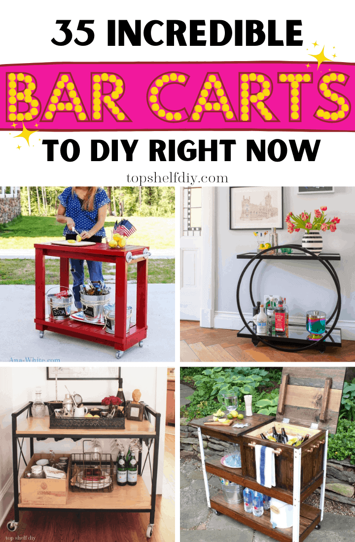 Building your own bar cart isn't difficult once you have a little inspiration. Modern, industrial, outdoor, indoor -- we've got every style in this post. Each DIY Bar Cart is built from scratch and is mounted on wheels!