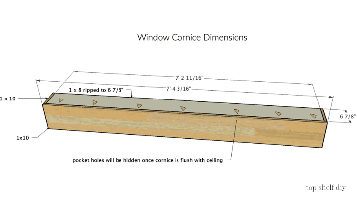 How to build a cornice. The dimensions of my DIY window cornice before crown molding was added.