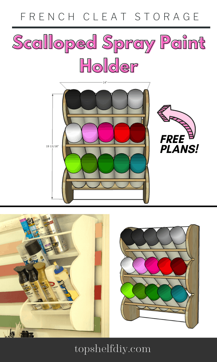 Get your spray cans up and organized on the wall with this lovely scalloped wood rack made from scrap lumber! Works best with a french cleat wall system. Read along and download the free plans. #frenchcleat #frenchcleatorganization #frenchcleatsystem