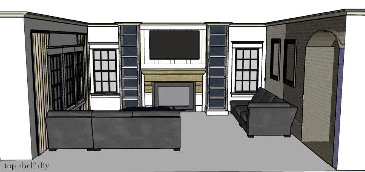 My Sketchup Plans for this Modern Farmhouse Living Room renovation sponsored by The Home Depot. 5K winner for the Orange Tank competition.
